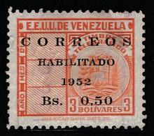 VENEZUELA 1952 - Revenue Stamps Surcharged - 50ct On 3bs Stamp - VFU - Venezuela