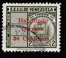 VENEZUELA 1951 - Revenue Stamps Surcharged - 30ct On 2bs Stamp - VFU - Venezuela