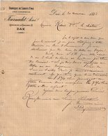 VP12.359 - Lettre - Fabrique De Sabots Fins FOURNADET Aîné à DAX ( Landes ) - 1800 – 1899
