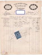 FACTURE J.P. DALEAS TOILES EN TOUS GENRES Calicots Soierie Percales Cravates *TIMBRE FISCAL Rabastens Aout 1879  322 - Textile & Clothing