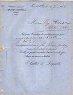 VP12.362 - Lettre - Maison Edouard LEHUGEUR & Cie  - E.GALLIET & LEGEMBLE Successeurs à FLERS DE L'ORNE - 1800 – 1899