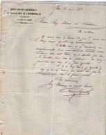 VP12.363 - Lettre - Maison Edouard LEHUGEUR & Cie  - E.GALLIET & LEGEMBLE Successeurs à FLERS DE L'ORNE - 1800 – 1899