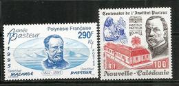 Année Pasteur,   2 Timbres Neufs ** Hautes Faciales Polynésie & Nouv.Calédonie. Cote 12,00 Euro - Louis Pasteur