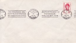 SOBRE ENVELOPE. BANDELETA PARLANTE:XIV REUNION COMITE CIETIFICO INVEST. ANTARTICAS. OBLIT 1976. ARGENTINA.- BLEUP - Polar Philately