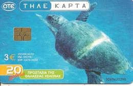 CARTE-PUCE-GRECE-GEM6-3€-05/03-TORTUE-UTILISE-TBE - Tartarughe
