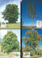 Prifix 2009 N° 1330/33  (Michel: 1380/3)  Arbres: Tilleul - Marronnier - Chêne - Bouleau - Maximum Cards