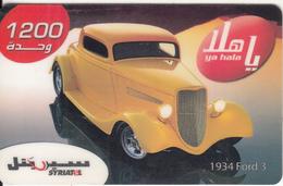 SYRIA - Car, 1934 Ford 3, SyriaTel Prepaid Card 1200 SP, Exp.date 31/12/08, Used - Syria