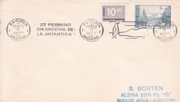 SOBRE ENVELOPE. BANDELETA PARLANTE:DIA NACIONAL DE LA ANTARTIDA. OBLIT 1977. ARGENTINA.- BLEUP - Polar Philately