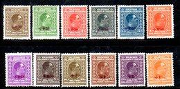 YUG38A - YUGOSLAVIA 1926 , Serie Unificato N. 182/193  */*  Gomma Stanca . Re Alessandro . Cert Velickovic - 1919-1929 Regno Dei Serbi, Croati E Sloveni