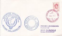 ANTARTIDA ARGENTINA. BASE DE EJERCITO ESPERANZA. ACCION DEL EJERCITO. OBLIT 1977. AUTRES MARQUES.- BLEUP - Antarctic Expeditions