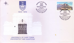 SOUTH AFRICA : FIRST DAY COVER WITH INFORMATION BROCHURE INSIDE : 150 YEARS OF UNIVERSITY OF CAPE TOWN : 01-10-1979 - Covers & Documents