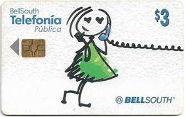 Ecuador - Bell South - Cartoon Girl On Phone - 2002, 3$, Used - Ecuador