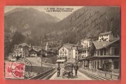 DA10-16 Ligne Martigny-Châtelard-Chamonix  Gare De Finhaut, Attelage, ANIME. Cachet Frontal En 1911.Burgy 4970 - VS Valais