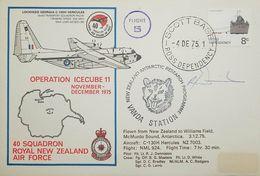 L) 1975 ROSS DEPENDENCY, 8C, BOAT, ANTARCTIC, FLIGHT 5, OPERATION ICECUBE 11, AIRPLANE, HERCULES, MAP, VANDA STATION - FDC
