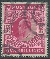 1902-10 GREAT BRITAIN USED SG 263 5s BRIGHT CARMINE - 1902-1951 (Re)