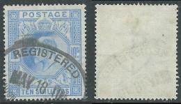 1902-10 GREAT BRITAIN USED SG 265 10s ULTRAMARINE - 1902-1951 (Re)