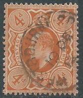 1911 GREAT BRITAIN USED SG 286 4d BRIGHT ORANGE - Usati