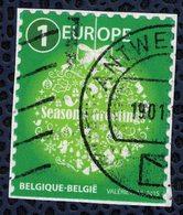 Belgique 2015 Oblitéré Used Season's Greetings Joyeuses Fêtes Vert Europe - Belgique