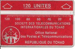 CARTE MAGNETIQUE-TCHAD-120U-ROUGE-V° N° En Bas A Droite Inversé-506A02681-UTILISE-BE - Tsjaad