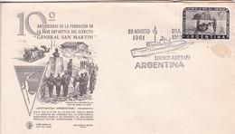 10 ANIV FUNDACION BASE ANTARTICA DEL EJERCITO GRAL SAN MARTIN, FDC OBLIT BS AS 1961. ARGENTINA.- BLEUP - Polar Philately