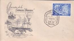 """HAZAÑA DE LA CAÑONERA """"URUGUAY"""" EN LA ANTARTIDA ARGENTINA. FDC BUENOS AIRES 1953.- BLEUP - Polar Philately"""