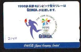 Télécarte Japon / 110-016 - COCA COLA (2140) - COKE * OLYMPIC GAMES * SPORT *  Japan Phonecard Telefonkarte - Jeux Olympiques