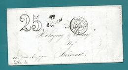 Gironde -Biganos Pour Holagray à Bordeaux. Cursive . LAC De 1849 écrite Aux Forges De PONNEAU - Marcophilie (Lettres)