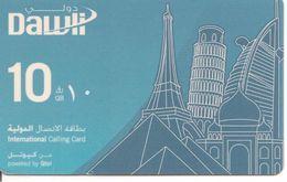 -CARTE-PREPAYEE-QUATAR-10QR-TOUR EIFFEL PISE  ETC-BLEU -TBE-RARE - Qatar