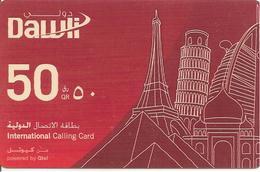 -CARTE-PREPAYEE-QUATAR-50QR-TOUR EIFFEL PISE  ETC -ROUGE-TBE-RARE - Qatar