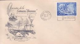 HAZAÑA DE LA CAÑOERA URUGUAY EN LA ANTARTIDA ARGENTINA. FDC OBLIT BUENOS AIRES 1953.- BLEUP - Polar Philately
