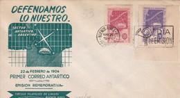 DEFENDAMOS LO NUESTRO. SECTOR ANTARTICO ARGENTINO. FDC. OBLIT BUENOS AIRES 1947. AVEC BORD DU PLAQUE.- BLEUP - Polar Philately