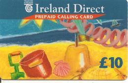 CARTE-PREPAYEE-IRELANDE-10£-PLAGE CHATEAU DE SABLE-TBE-RARE - Irlande