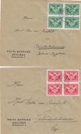 Deutsches Reich  2 Briefe 1925 Viererblock - Deutschland