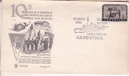 10° ANIV FUNDACION BASE ANTARTICA DEL EJERCITO GRAL SAN MARTIN. FDC OBLIT BUENOS AIRES 1961.- BLEUP - Polar Philately