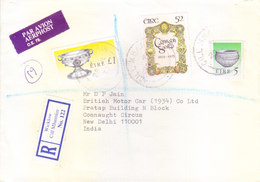 IRELAND : 1993 COMMERCIAL AIR MAIL COVER SENT TO INDIA WITH REGISTRATION ROM WICKLOW CILL MHANTAIN - 1949-... Republic Of Ireland