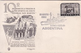 CARD. 10° ANIV FUNDACION BASE ANTARTICA DEL EJERCITO GRAL SAN MARTIN. FDC OBLIT BUENOS AIRES 1961.- BLEUP - Polar Philately