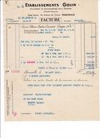 Facture Huiles, Savons De La Grappe, Etablissements Gouin, 118 Avenue De Toulon, Marseille, 1931 - Chemist's (drugstore) & Perfumery