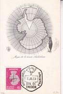 CARD. MAPA DE LA ZONA ANTARTICA ARGENTINA. FDC OBLIT BUENOS AIRES 1958.- BLEUP - Polar Philately