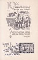 """CARD. 10° ANIV FUNDACION BASE ANTARTICA DEL EJERCITO """"GRAL SAN MARTIN"""". OBLIT BUENOS AIRES 1961.- BLEUP - Polar Philately"""