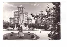 Espagne Madrid Plaza De Espana Place D' Espagne Cachet 1961 + Timbre CPSM GF - Madrid