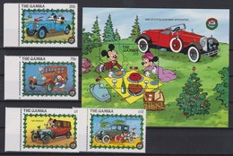 2180  WALT DISNEY  The GAMBIA ( Christmas 1989 ) Characters From Disney And Old Cars . - Disney