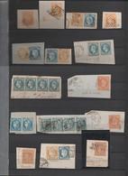FRANCE    4 OBLITERATIONS ITALIENNES (300 EUROS DE COTE); BANDE DE 45 BORDEAUX...A ETUDIER - Marcophily (detached Stamps)