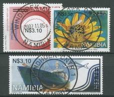 Namibia 2006 Schiff Sonnenblume Neue Wertaufdrucke 1184/86 Gestempelt - Namibia (1990- ...)