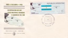 RECUPERACION DE LAS ISLAS MALVINAS, GEORGIAS Y SANDWICH DEL SUR. FDC OBLIT BUENOS AIRES 1983. ARGENTINA.- BLEUP - Falkland Islands