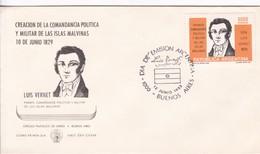 CREACION DE LA COMANDANCIA POLITICA Y MILITAR DE LAS ISLAS MALVINAS. LUIS VERNET. FDC OBLIT BUENOS AIRES 1982.- BLEUP - Falkland Islands