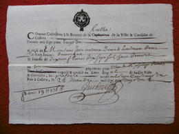 CONSULAT DE CASTRES PAPIER TIMBRE MANUSCRIT AUTOGRAPHE GAUBERT 1721 - Cachets Généralité