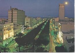 CPM  Tunisie Tunis  Clair De Lune Sur L'avenue Bourgiba - Tunisie