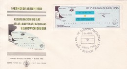 RECUPERACION DE LAS ISLAS MALVINAS, GEORGIAS Y SANDWICH DEL SUR. FDC OBLIT BUENOS AIRES 1983. ARGENTINA- BLEUP - Falkland Islands