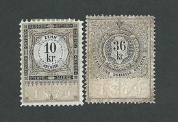 2 Austria Revenue Stempelmarken 10 + 36 Kr. 1879 - Ungebraucht - Ungummiert - Fiscali