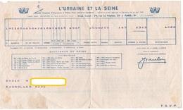 DOCUMENT COMMERCIAL L'URBAINE ET LA SEINE Quittance De Prime  BAGNOLLES Aude  AVRIL 1955  324 - Bank & Insurance
